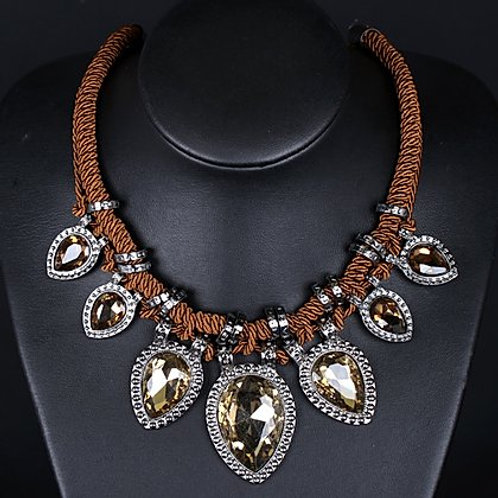Brown Rope & Crystal Necklace
