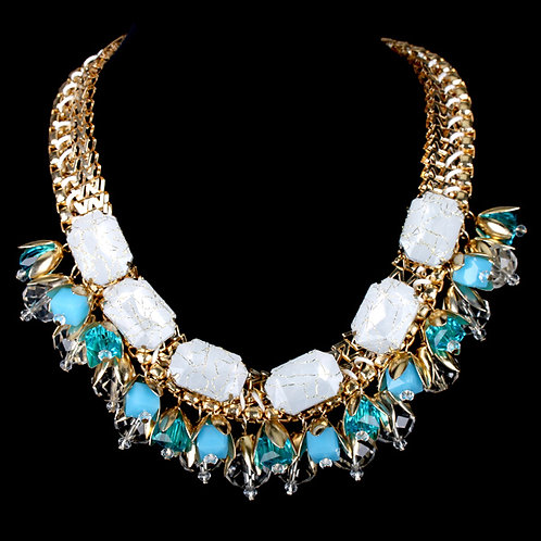 Chunky Bedazzled Blue Necklace