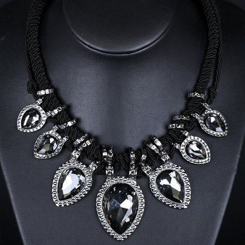 Black Rope & Crystal Necklace
