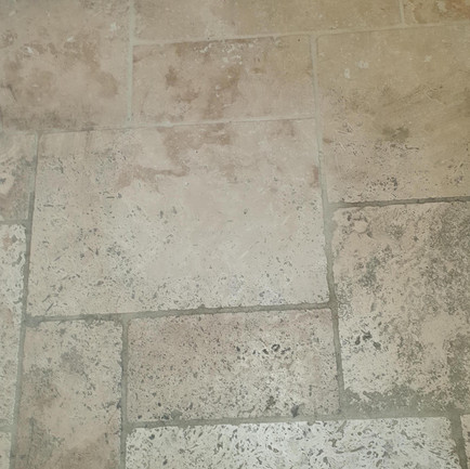 Demo clean patch on Limestone flooring