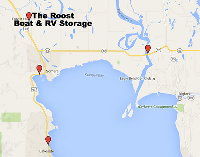 Click for Directions to Boat Ramps Near The Roost Boat & RV Storage