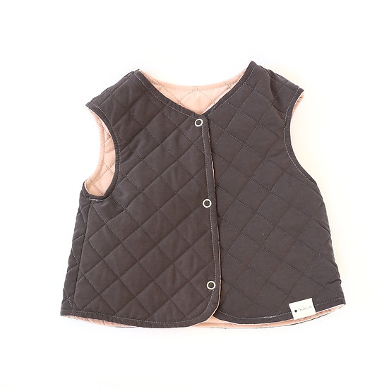 Quilted Charcoal Pink Reversible Vest