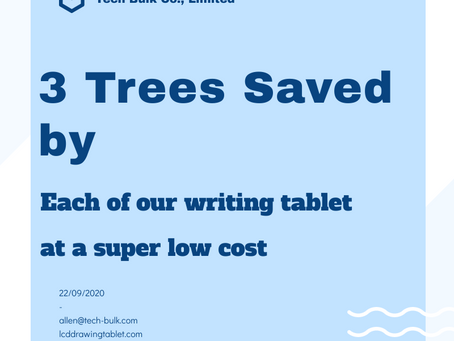 3 20year Old Trees Saved by Each of Our LCD Writing Tablets