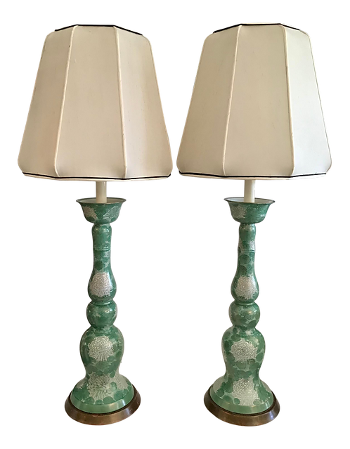 Italian Moderne Porcelain Green Floral Table Lamps - a Pair