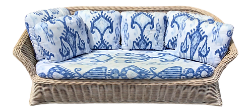Boho Chic Rattan Sofa With Blue and White Fabric