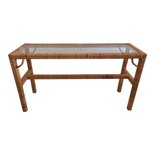 1970s Boho Chic Rattan Console With Glass Top