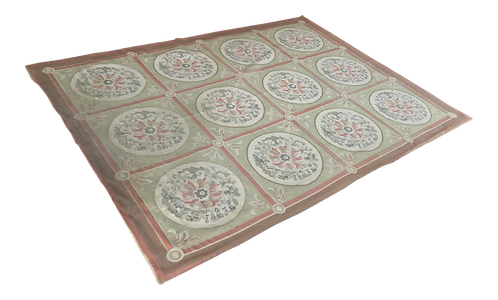 French Needlepoint Medallion Carpet