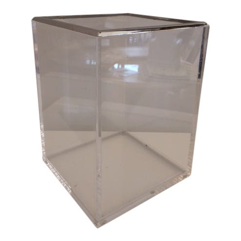 Modern Lucite and Chrome Wastepaper Basket