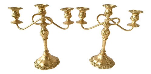 1950s French Gold Candelabras - a Pair