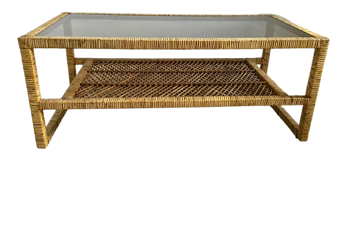 Vintage Bielecky Brothers Rattan Coffee Table
