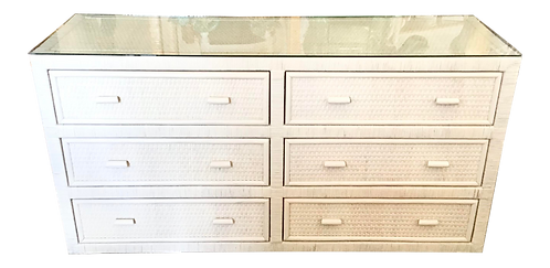 Boho Chic White Washed Finish Six Drawers Rattan Bielecky Brothers Double Dresse