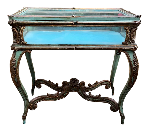 French Louis XV Vitrine in Original Blue Painted Finish