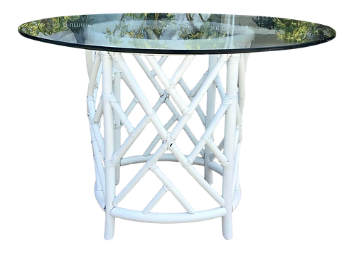 Boho Chic Rattan White Lacquer Dining Table With Glass Top