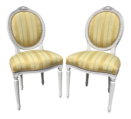 Classic French Louis XVI Side Chairs - a Pair