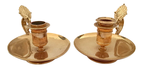 French Hand Held Brass Candlesticks - a Pair
