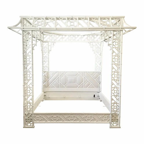 King Size Pagoda Canopy Bed in White Lacquer