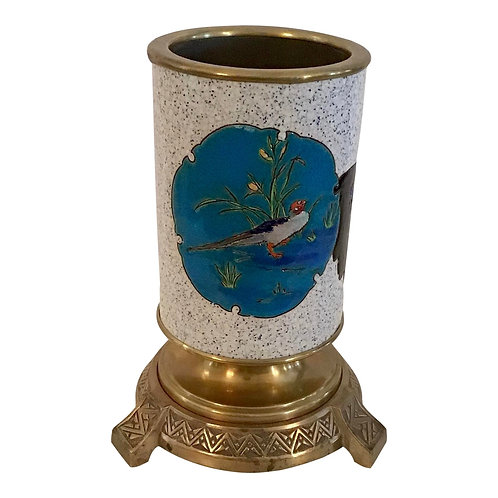 Vintage French Chinoiserie Enamel and Ormolu Cache Pot