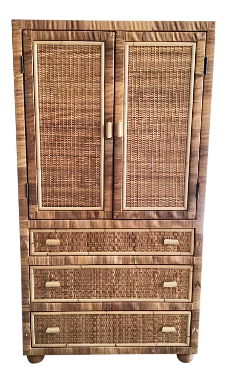 Bielecky Brothers Large Rattan Armoire With Doors and Three Drawers for Storage