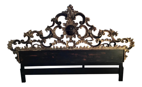 Italian Baroque King Headboard With Silver Details