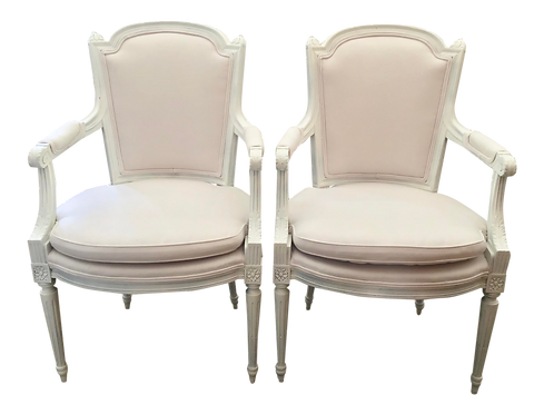 French Louis XVI Fauteuil in White Lacquer and New Sunbrella White Upholstery