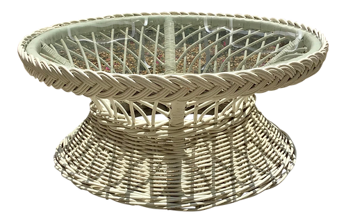 Round Rattan Coffee Table With Glass Inset Top