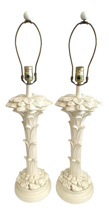 Serge Roche Plaster Palm Tree Lamps - a Pair
