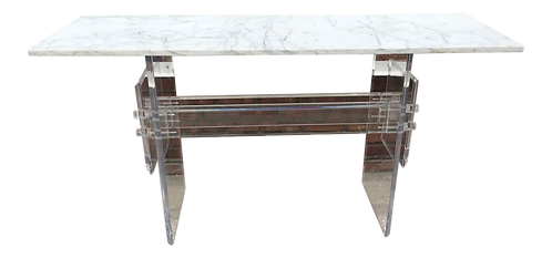 Lucite Radiator Console With Marble Top