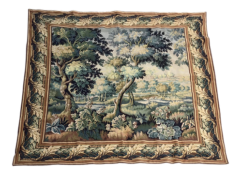 French Square Wall Tapestry in the Verdure Style