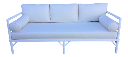 Faux Bamboo Sofa Newly Lacquered White and New Todd Hase Upholstery