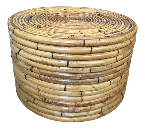 Pencil Reed Rattan Drum Table