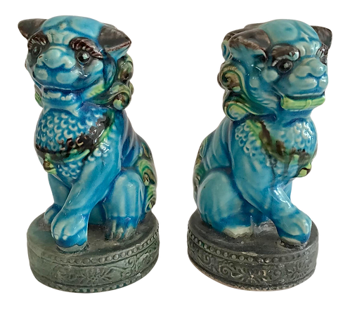 Small Foo Dogs Turquoise Figurines - a Pair