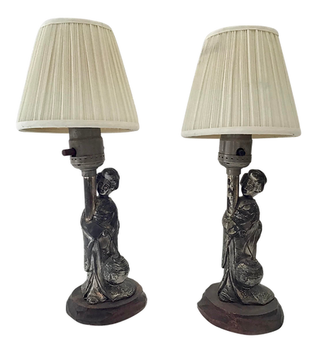 Asian Silver Figural Small Lamps - a Pair