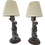 Thumbnail: Asian Silver Figural Small Lamps - a Pair