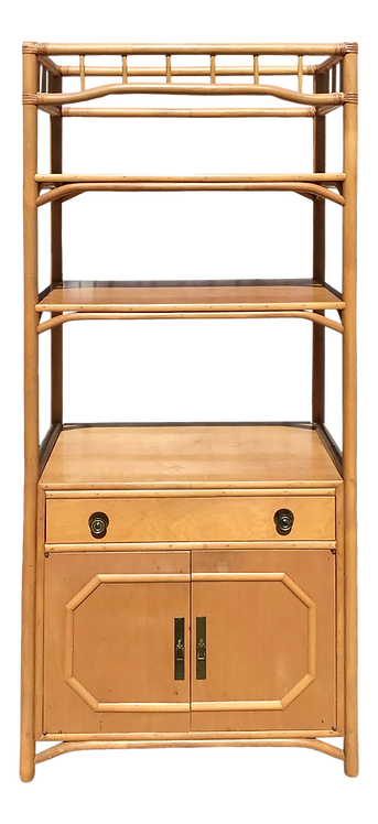 Chippendale Rattan Bar Etagere With Storage