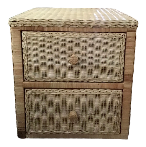 Boho Chic Natural Wicker Small Side Cabinet With Drawers