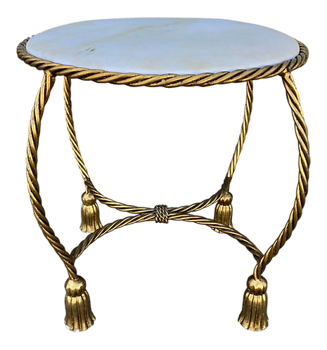 Round Metal Bench With Tassel Motif in Gold