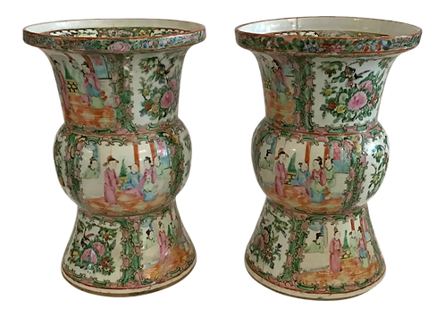 Rose Medallion Large Classic Form Vase - a Pair