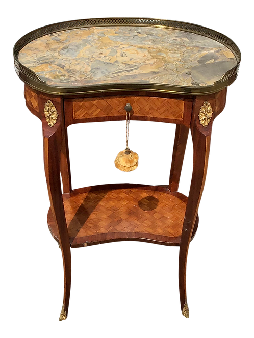 Classic French Transition Marble Top Side Table