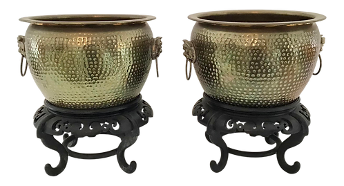 Decorative Asian Shape Brass Cache Bowls With Wood Bases - a Pair