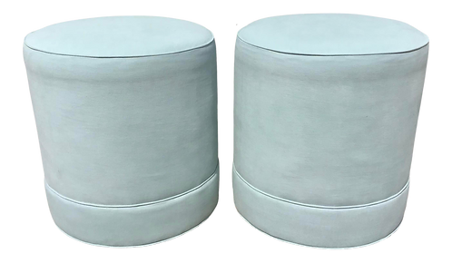 Todd Hase Designed Ruth Drum Ottomans - a Pair