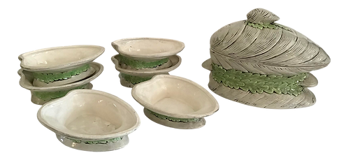 Ceramic Seafood Clams Mussel Covered Bowl and Set of Six Small Dishes