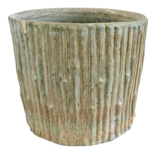 Faux Bois Glazed Ceramic Cache Pot
