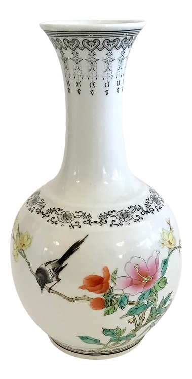 Asian Bud Vase With Hand Painted Birds and Floral Pattern