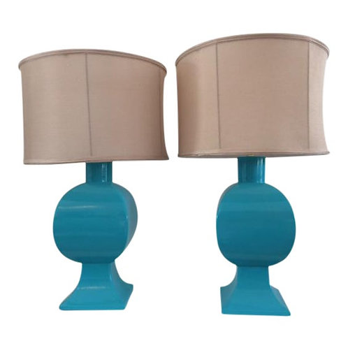 Vintage Turquoise Ceramic Table Lamps - a Pair