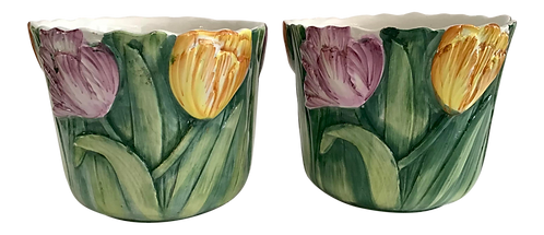 Small Cachepots With Tulip Motifs - a Pair