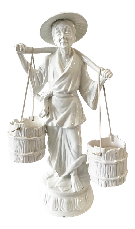 Hollywood Regency Asian Peasant Carrying Water Sculpture