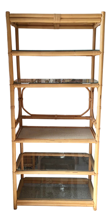 Boho Chic Chippendale Rattan Bar Etagere With Bar Surface