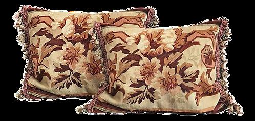 Aubusson Needlepoint Pillows - a Pair