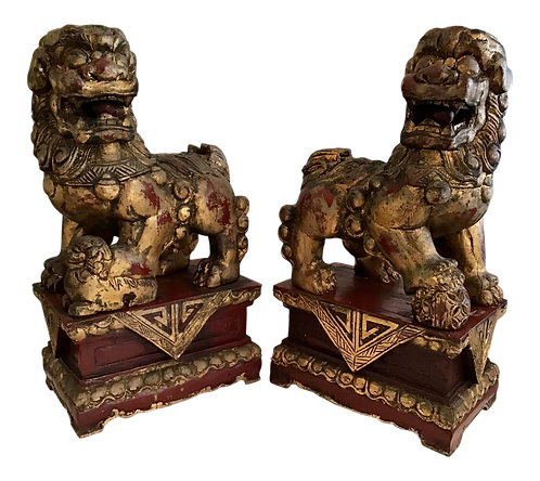 Wood Carved Foo Dogs - a Pair
