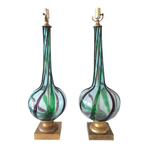 Vintage Murano Glass Swirl Table Lamps - a Pair